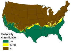 The map used in the fatally flawed Climate Match from USGS that mistakenly relied on temperature averages to produce and incorrect range of habitat for tropical constrictors.