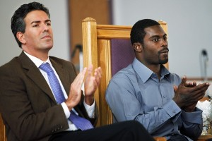 Wayne Pacelle and convicted dog fighting felon, Michael Vick, following Vick's $1,000,000 donation to a cause related to HSUS.